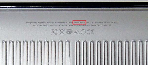 お持ちのMacBookのモデル番号をご確認下さい。