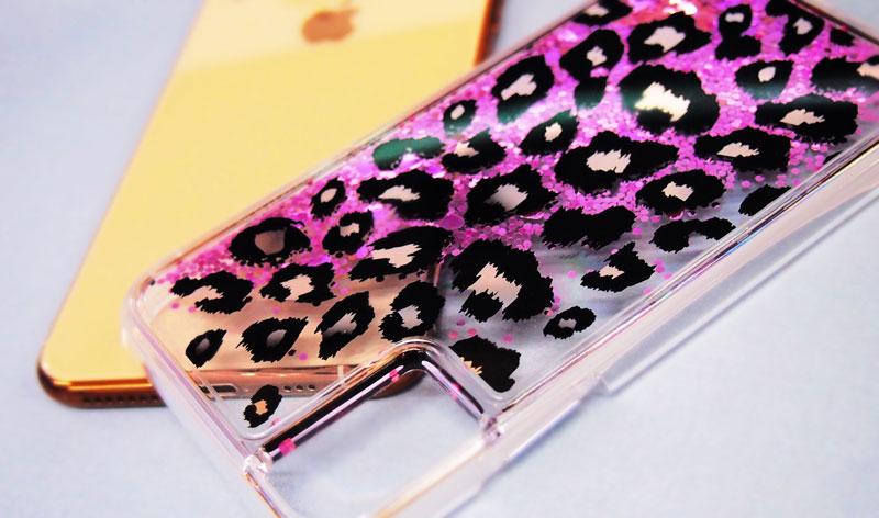 iPhone専用レオパード(ヒョウ柄)のグリッターケース|アニマルグリッターのオリジナル印刷ならME-Q(メーク)の写真