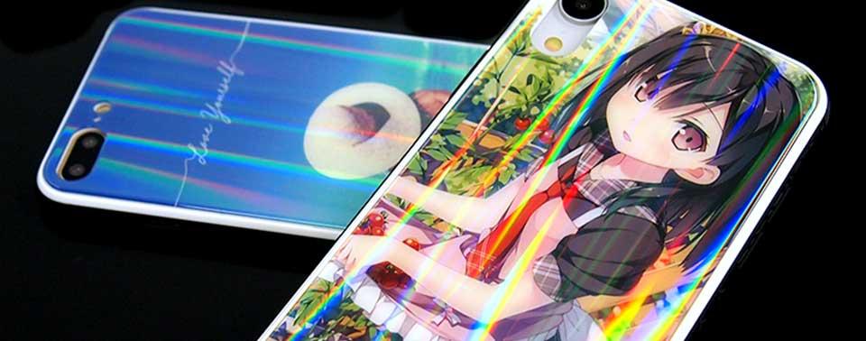 オーロラ・ホログラム加工の強化ガラスケース