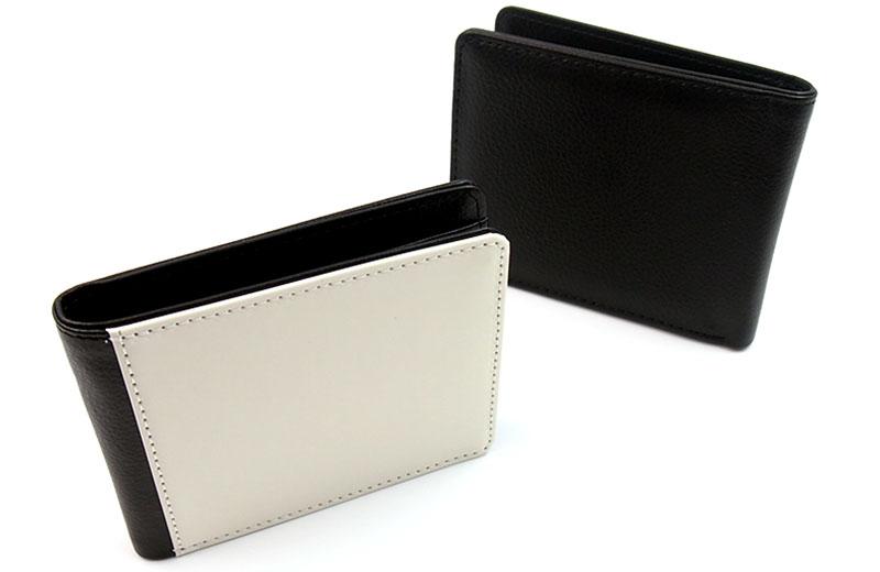頑丈で汚れにくいPUレザーで作られたオリジナル二つ折り財布