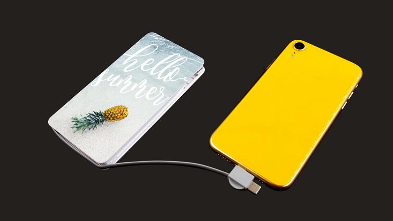 Qi対応モバイルバッテリーを1個からオリジナル印刷・名入れ
