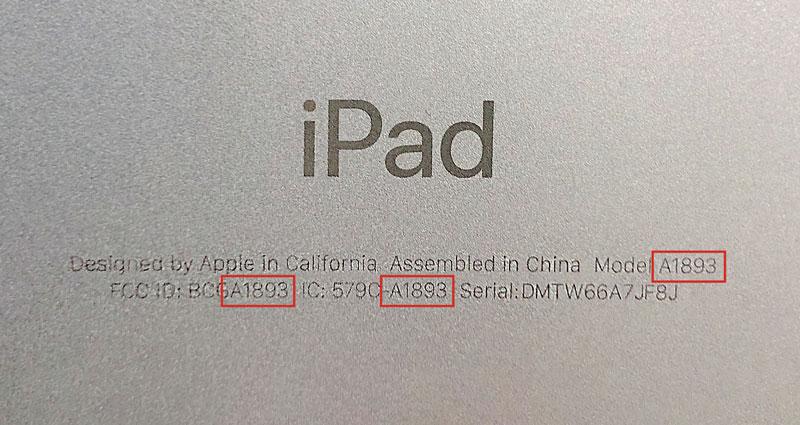 iPadのモデル番号