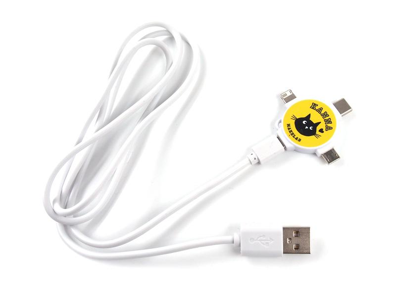 3in1充電USBケーブルの名入れ・ノベルティ・オリジナルを1個から作成可能