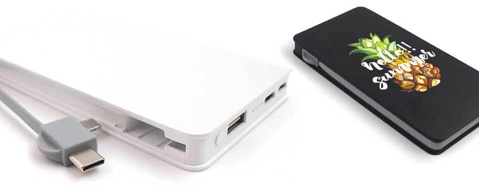 ケーブル収納Qi対応モバイルバッテリー5000mAh
