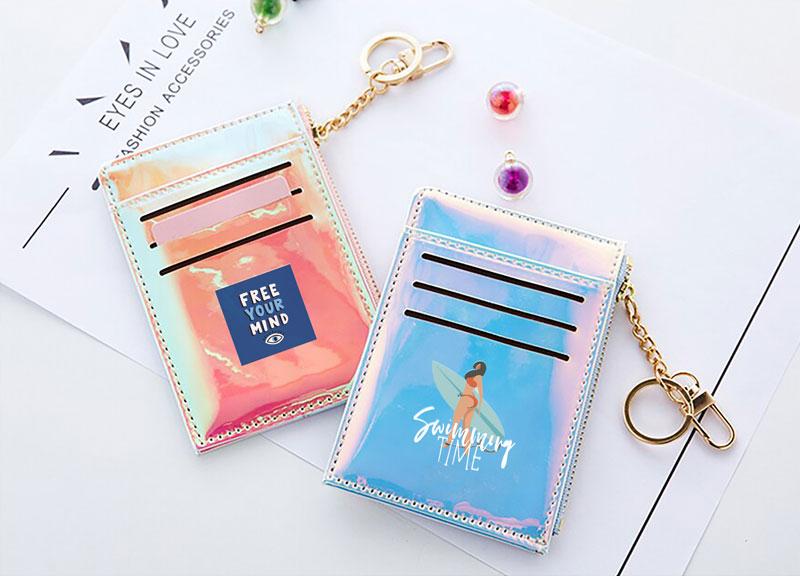 オーロラカラーのミニ財布&カードケースをオリジナルで1個から印刷・作成|多機能ミニ財布をオリジナルで作るならME-Q(メーク)