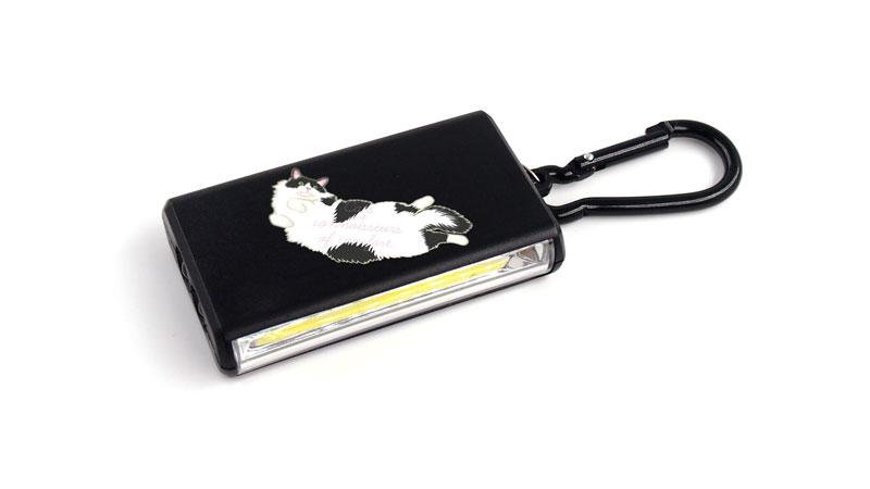 ブラックのカラビナ付LEDキーホルダーで印刷したい方へ